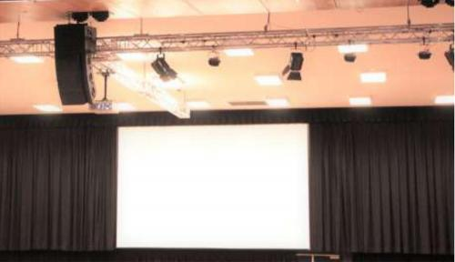 Fixed Large Format Projection Screen with Centreopening Curtains, Truss, Lighting & Audio