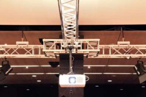 Installed Projection System with Over-stage Truss