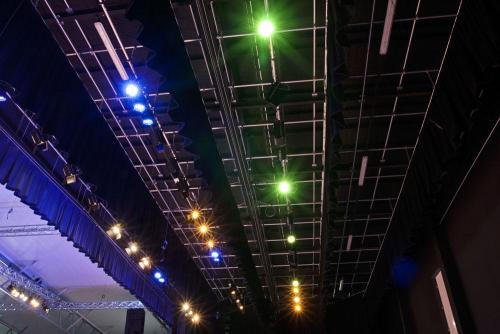 Over-stage Grid with Masking Curtains & Powered Lighting Bars